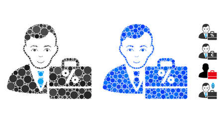 Tax accounter mosaic of circle elements in different sizes and color tones, based on tax accounter icon. Vector circle elements are combined into blue mosaic.