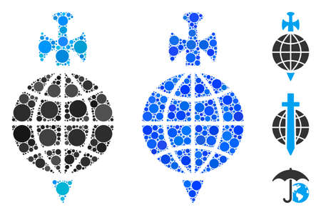 Global guard composition of spheric dots in various sizes and color tones, based on global guard icon. Vector dots are combined into blue composition.