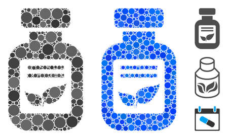Natural drugs vial mosaic of round dots in various sizes and shades, based on natural drugs vial icon. Vector round dots are organized into blue mosaic.