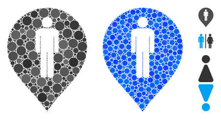 Man toilet marker composition of circle elements in variable sizes and color hues, based on man toilet marker icon. Vector circle elements are united into blue collage.
