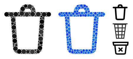 Bucket mosaic of circle elements in variable sizes and color hues, based on bucket icon. Vector circle elements are united into blue mosaic. Dotted bucket icon in usual and blue versions. Ilustrace