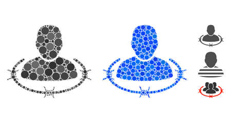 Captured man composition of round dots in various sizes and color tinges, based on captured man icon. Vector round dots are combined into blue illustration. Ilustração