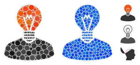 Inventor mosaic of small circles in variable sizes and color tinges, based on inventor icon. Vector small circles are united into blue mosaic. Dotted inventor icon in usual and blue versions.