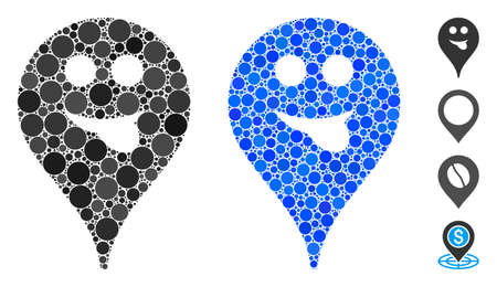 Tongue smiley map marker mosaic of round dots in different sizes and color hues, based on tongue smiley map marker icon. Vector round dots are grouped into blue collage. Illusztráció