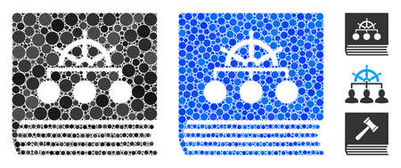 Ship guide book composition of filled circles in variable sizes and color tinges, based on ship guide book icon. Vector filled circles are composed into blue illustration.