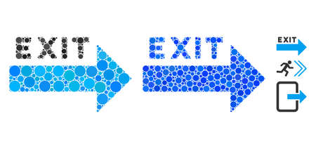 Exit arrow composition of circle elements in different sizes and color tints, based on exit arrow icon. Vector circle elements are grouped into blue collage.