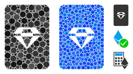 Ruby gaming card composition of circle elements in different sizes and color hues, based on ruby gaming card icon. Vector round elements are united into blue composition.