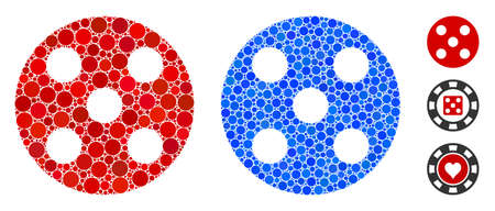 Round dice composition of round dots in different sizes and shades, based on round dice icon. Vector round dots are united into blue composition. Dotted round dice icon in usual and blue versions.