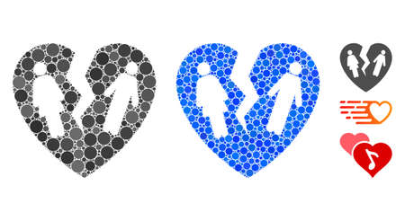 Broken family heart mosaic of filled circles in various sizes and color hues, based on broken family heart icon. Vector small circles are combined into blue mosaic. Illustration