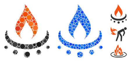 Composition de flamme de jet de brûleur à gaz de points ronds de tailles et de teintes variables, basée sur l'icône de flamme de jet de brûleur à gaz. Les éléments ronds vectoriels sont regroupés en composition bleue.