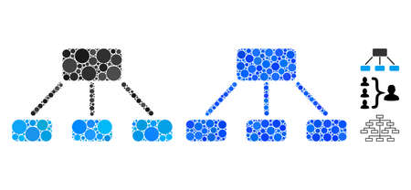 Hierarchy mosaic of round dots in variable sizes and color tinges, based on hierarchy icon. Vector round dots are composed into blue composition. Dotted hierarchy icon in usual and blue versions.
