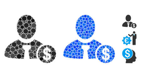 Banker composition of round dots in various sizes and color tinges, based on banker icon. Vector round dots are combined into blue composition. Dotted banker icon in usual and blue versions. 向量圖像