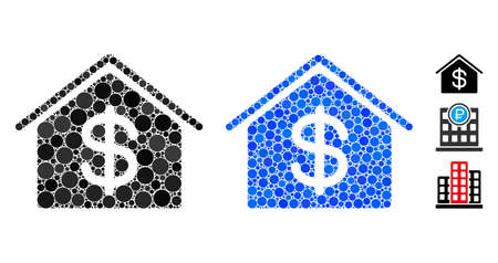 Real estate mosaic of circle elements in various sizes and color tints, based on real estate icon. Vector circle elements are united into blue illustration. Illustration