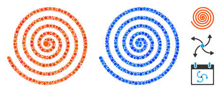Hypnosis composition of round dots in various sizes and color tones, based on hypnosis icon. Vector round dots are united into blue composition. Dotted hypnosis icon in usual and blue versions.