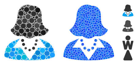 Lady composition of round dots in different sizes and color tints, based on lady icon. Vector dots are organized into blue composition. Dotted lady icon in usual and blue versions.