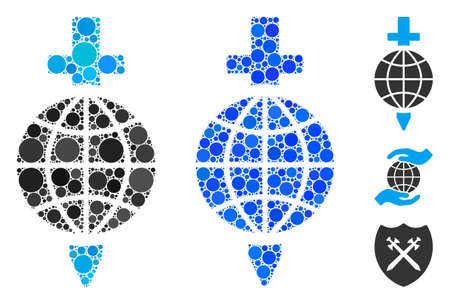 Global safety mosaic of round dots in various sizes and shades, based on global safety icon. Vector round dots are united into blue mosaic. Dotted global safety icon in usual and blue versions.