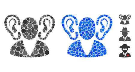 Listener composition of filled circles in different sizes and color hues, based on listener icon. Vector filled circles are composed into blue collage. Dotted listener icon in usual and blue versions. Illustration