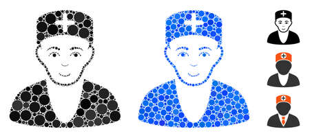 Doctor mosaic of small circles in different sizes and color hues, based on doctor icon. Vector small circles are combined into blue collage. Dotted doctor icon in usual and blue versions.