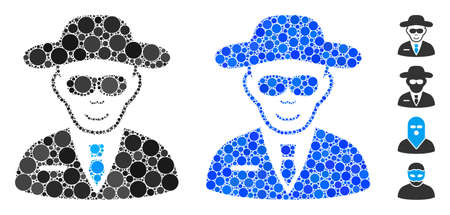 Spy composition of filled circles in variable sizes and shades, based on spy icon. Vector filled circles are composed into blue illustration. Dotted spy icon in usual and blue versions.
