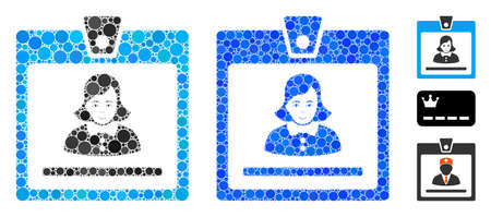 Woman badge composition of spheric dots in various sizes and shades, based on woman badge icon. Vector dots are united into blue composition. Dotted woman badge icon in usual and blue versions. Vektoros illusztráció