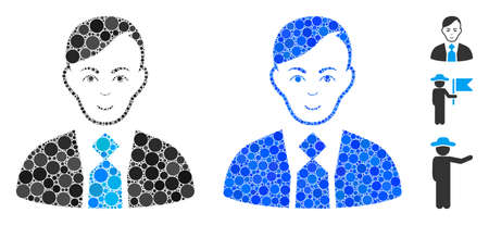 Fuhrer mosaic of filled circles in various sizes and color tints, based on fuhrer icon. Vector filled circles are united into blue composition. Dotted fuhrer icon in usual and blue versions.