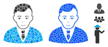 Manager mosaic of round dots in various sizes and shades, based on manager icon. Vector round dots are united into blue illustration. Dotted manager icon in usual and blue versions.