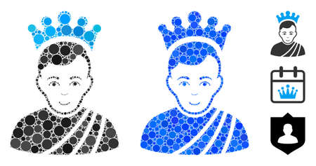 Emperor mosaic of circle elements in various sizes and color tints, based on emperor icon. Vector round elements are united into blue mosaic. Dotted emperor icon in usual and blue versions.