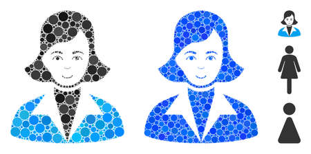 Lady mosaic of circle elements in different sizes and color tinges, based on lady icon. Vector round elements are united into blue mosaic. Dotted lady icon in usual and blue versions. Ilustrace