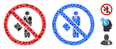 No businessman composition of round dots in various sizes and color tinges, based on no businessman icon. Vector round dots are combined into blue composition.