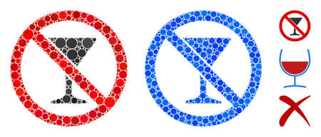No martini glass composition of round dots in various sizes and color hues, based on no martini glass icon. Vector dots are composed into blue composition.