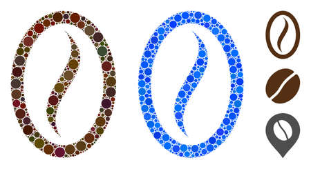 Coffee bean composition of round dots in different sizes and color tones, based on coffee bean icon. Vector round dots are composed into blue composition. Ilustração