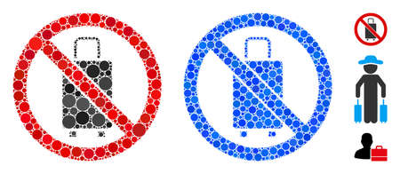 No baggage composition of round dots in various sizes and color hues, based on no baggage icon. Vector round dots are composed into blue composition. Dotted no baggage icon in usual and blue versions. Иллюстрация