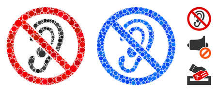 No listen mosaic of small circles in variable sizes and color hues, based on no listen icon. Vector small circles are composed into blue mosaic. Dotted no listen icon in usual and blue versions.