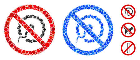 No insemination composition of filled circles in variable sizes and color hues, based on no insemination icon. Vector small circles are united into blue composition.