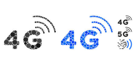4G mosaic of circle elements in various sizes and color tinges, based on 4G icon. Vector circle elements are united into blue composition. Dotted 4G icon in usual and blue versions.