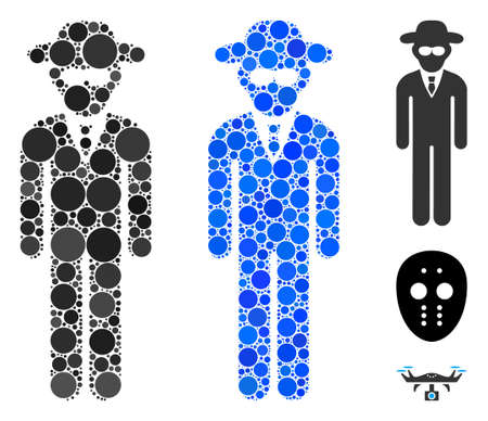 Security agent composition of small circles in different sizes and color tones, based on security agent icon. Vector small circles are grouped into blue collage.