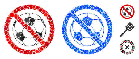 No football mosaic of circle elements in various sizes and color tinges, based on no football icon. Vector circle elements are organized into blue mosaic.