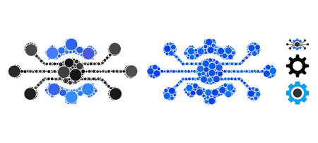 Electronic cog composition of small circles in variable sizes and color tinges, based on electronic cog icon. Vector small circles are composed into blue illustration.