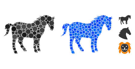 Horse composition of filled circles in variable sizes and color tints, based on horse icon. Vector filled circles are united into blue collage. Dotted horse icon in usual and blue versions.