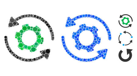 Infinite rotation mosaic of small circles in various sizes and color tinges, based on infinite rotation icon. Vector small circles are composed into blue collage. 矢量图像