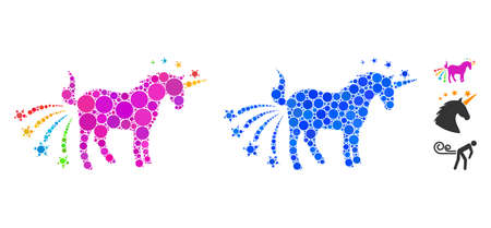 Farting unicorn mosaic of small circles in variable sizes and color tints, based on farting unicorn icon. Vector filled circles are grouped into blue mosaic. Illustration