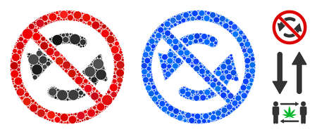 No flip arrows composition of small circles in various sizes and color hues, based on no flip arrows icon. Vector small circles are grouped into blue collage.