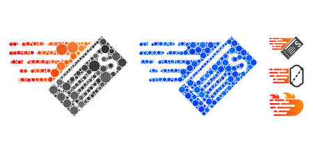 Express cheque mosaic of round dots in various sizes and color tints, based on express cheque icon. Vector round elements are combined into blue mosaic.