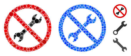 No repair wrench composition of circle elements in various sizes and color hues, based on no repair wrench icon. Vector round elements are composed into blue composition.