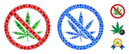 Żadna kompozycja marihuany z małych kółek w różnych rozmiarach i odcieniach kolorystycznych, oparta na braku ikony marihuany. Małe kółka wektorowe są połączone w niebieską kompozycję.