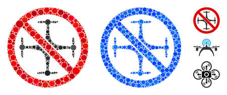 No quadcopter mosaic of circle elements in different sizes and color tints, based on no quadcopter icon. Vector circle elements are composed into blue composition. Ilustração
