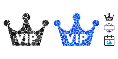VIP crown composition of spheric dots in variable sizes and color tinges, based on VIP crown icon. Vector round dots are grouped into blue collage. Dotted VIP crown icon in usual and blue versions. Vektoros illusztráció
