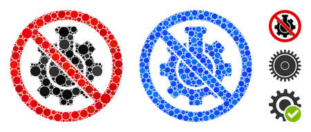 No chemical industry mosaic of circle elements in various sizes and color hues, based on no chemical industry icon. Vector round elements are composed into blue mosaic.