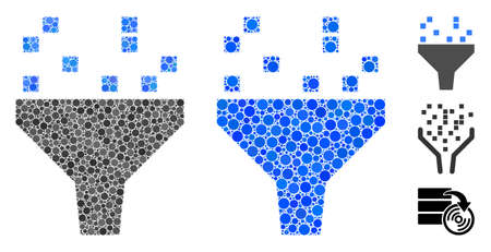 Data filter composition of round dots in variable sizes and color tinges, based on data filter icon. Vector round dots are organized into blue illustration.