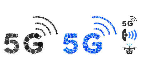 5G composition of round dots in variable sizes and color tinges, based on 5G icon. Vector round dots are grouped into blue mosaic. Dotted 5G icon in usual and blue versions.